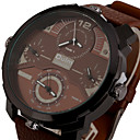 cheap Military Watches-Men's Quartz Wrist Watch / Military Watch / Sport Watch Punk / Cool / Three Time Zones Leather Band Luxury / Vintage / Casual / Fashion