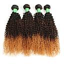 abordables Adhesivos de Pared-4 paquetes Cabello Brasileño Rizado / Afro Cabello Virgen Ombre Cabello humano teje Extensiones de cabello humano