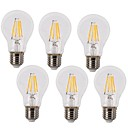 cheap Incandescent Bulbs-KWB 6pcs 4W 350-450lm E26 / E27 LED Filament Bulbs A60(A19) 4 LED Beads COB Waterproof Decorative Warm White Cold White 220-240V