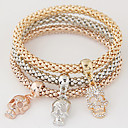 baratos Braceletes-Mulheres Camadas / Pilha Pulseiras com Pendentes - Strass, Imitações de Diamante Caveira Luxo, Europeu, Estilo simples Pulseiras Arco-Íris Para Presente / Diário