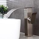 ieftine Clothing Accessories-Robinet de baie pentru baie - pre-clătire / cascadă / scară largă de nichel periat centură unică mâner două găuri robinete pentru baie