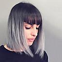 halpa Synteettiset peruukit ilmanmyssyä-Naisten Synteettiset peruukit Suojuksettomat Keskikokoinen Suora Musta / Harmaa Liukuvärjätyt hiukset Bob-leikkaus Luonnollinen peruukki