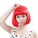 baratos Pedaços de Cabelo-Perucas sintéticas Liso Corte Bob Cabelo Sintético Vermelho Peruca Mulheres Sem Touca Vermelho