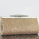 cheap Clutches & Evening Bags-Women's Bags Cowhide Evening Bag Bi-fold Crystal/ Rhinestone for Wedding Event/Party Formal All Seasons Gold Black Silver