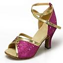 ieftine Pantofi Dans Latin-Pentru femei Pantofi Dans Latin / Sală Dans Paillertte / Satin Sandale Cataramă Toc Flared NePersonalizabili Pantofi de dans Albastru /