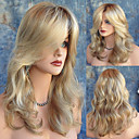 cheap Human Hair Capless Wigs-Synthetic Wig Natural Wave Blonde With Bangs Light Blonde Synthetic Hair Women's Heat Resistant / Dark Roots / Side Part Blonde Wig Long Capless