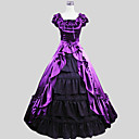 cheap Historical & Vintage Costumes-Victorian Costume Women's Outfits Purple Vintage Cosplay Charmeuse Short Sleeve Cap Sleeve Ankle Length Halloween Costumes