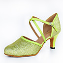 cheap Latin Shoes-Women's Latin Shoes Sparkling Glitter / Leather / Satin Heel Sparkling Glitter / Buckle Customized Heel Customizable Dance Shoes Green