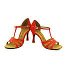 abordables Zapatos de Baile Latino-Mujer Latino Salsa Semicuero Ante Sandalia Tacones Alto Rendimiento Profesional Hebilla Corbata de Lazo Tacón Personalizado Negro