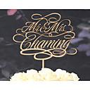 billige Bryllupsdekorasjoner-Kakepynt Personalisert Klassisk Par Krom Bryllup Jubileum Gul Klassisk Tema Vintage Tema Rustikk Tema 1 Polyester Veske