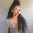 abordables Pelucas Sintéticas con Agarre-Peluca Lace Front Sintéticas Kinky Curly Pelo sintético Resistente al Calor / Entradas Naturales Negro Peluca Mujer Monofilamento / Agarre en L / La mitad sin tapa