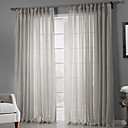cheap Curtains Drapes-Sheer Curtains Shades Bedroom Solid Colored Polyester Print