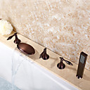 رخيصةأون حنفيات الحمام-حنفية حوض الاستحمام - معاصر برونز مفروك بزيت حوض استحمام ودش صمام سيراميكي / ثلاثة مقابض خمسة ثقوب