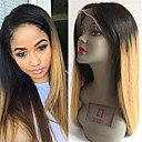 cheap Costume Wigs-Remy Human Hair Glueless Lace Front / Lace Front Wig Brazilian Hair Straight Wig 130% Ombre Hair / Natural Hairline Women's Short / Medium Length / Long Human Hair Lace Wig