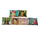 abordables Fundas de Almohada-6 PC Lino Funda de almohada Cobertor de Cojín, Un Color Geométrico Con Texturas Estilo playero Reforzar Tradicional/Clásico