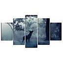 abordables Impresiones-Animales Modern, Cinco Paneles Lona cualquier Forma Estampado Decoración de pared Decoración hogareña