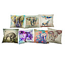 cheap Pillow Covers-Set of 7 Ink elephant pattern  Linen Pillowcase Sofa Home Decor Cushion Cover