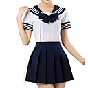 cheap Women's Heels-Inspired by Sailor Moon Schoolgirls Anime Cosplay Costumes Cosplay Suits Striped Short Sleeve Shirt / Skirt For Girls' Halloween Costumes