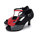 cheap Latin Shoes-Women's Latin Shoes / Jazz Shoes / Modern Shoes Elastic Fabric Sandal / Heel Rhinestone / Buckle Flared Heel Customizable Dance Shoes Brown / Red / Black / Indoor / Performance / Leather