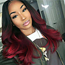 cheap Human Hair Wigs-Remy Human Hair Glueless Lace Front Lace Front Wig Brazilian Hair Loose Wave Ombre Wig 130% Density with Baby Hair Ombre Hair Natural Hairline African American Wig 100% Hand Tied Ombre Women's Short