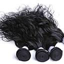 billige Hårvever med ekte hår-3 pakker Malaysisk hår Naturlige bølger Ekte hår Menneskehår Vevet Hårvever med menneskehår Hairextensions med menneskehår