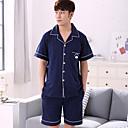 baratos Manicure-Homens Colarinho de Camisa Conjunto Pijamas Sólido