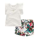 billige Pigekjoler-Børn / Baby Pige Blomstret Patchwork Kortærmet Tøjsæt