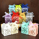 cheap Favor Holders-Round Square Pyramid Pearl Paper Favor Holder with Ribbons Printing Favor Boxes Gift Boxes - 100