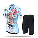preiswerte Modische Halsketten-XINTOWN Damen Kurzarm Fahrradtriktot mit Fahrradhosen - Hellblau Fahhrad Shorts / Laufshorts / Hosen / Regenhose / Trikot / Radtrikot, Rasche Trocknung, UV-resistant, Atmungsaktiv, Schweißableitend