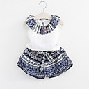 ieftine Seturi Îmbrăcăminte Fete-Copil Fete Zilnic Peteci Imprimeu Fără manșon Regular Celofibră / Poliester Set Îmbrăcăminte Albastru piscină 100