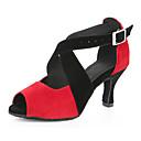 preiswerte Latein Schuhe-Damen Schuhe für den lateinamerikanischen Tanz / Jazztanzschuhe / Salsa Tanzschuhe Beflockung Sandalen / Absätze Schnalle / Rüschen