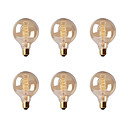 baratos Arte do prego do Natal-Ecolight™ 6pcs 40W E26/E27 G80 2300 K Incandescente Vintage Edison Light Bulb AC 220-240V V