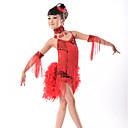 abordables Ropa de Baile para Niños-Baile Latino Vestidos Rendimiento Fibra de Leche Borla / Lentejuela Sin Mangas Cintura Media Vestido / Para la Cabeza / Neckwear