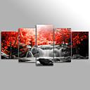 זול הדפסי בד מגולגל-דפוס L ו-scape / פרחוני / בוטני מודרני חמישה פנלים