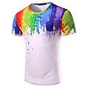 cheap Light Switches-Men's Cotton T-shirt - Rainbow Print Round Neck