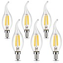 cheap LED Candle Lights-6pcs 3W 400lm E12 LED Filament Bulbs CA35 4 LED Beads COB Dimmable Decorative Warm White Cold White 110-120V