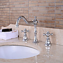 cheap Bathroom Sink Faucets-Bathroom Sink Faucet - Widespread Chrome Centerset Two Handles Three HolesBath Taps / Brass