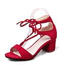 hesapli Kaşlar-Kadın's Ayakkabı Yapay Deri Bahar / Yaz Rahat Sandaletler Yürüyüş Kalın Topuk / Blok Topuk Açık Uçlu Elbise için Bağcıklı Siyah / Bej /