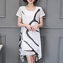 זול תחפושות מבוגרים-לבן מעל הברך דפוס, אחיד - שמלה שיפון מידות גדולות