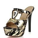 baratos Botas Femininas-Mulheres Sapatos Veludo / Materiais Customizados Verão Inovador / Sapatos clube Sandálias Salto Agulha Dedo Aberto Presilha Dourado /