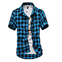 cheap Men's Sneakers-Men's Weekend Beach Cotton Slim Shirt - Plaid Classic Collar