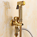 cheap Shower Faucets-Antique Shower Only Handshower Included Ceramic Valve Single Handle One Hole Antique Brass, Bathroom Sink Faucet
