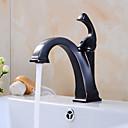 billige Vægklistermærker-Håndvasken vandhane - Forskyl / Udbredt Olie-gnedet Bronze Centersat Enkelt håndtag Et Hul