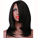 cheap Costume Wigs-Synthetic Lace Front Wig Straight / Yaki Bob Haircut Synthetic Hair Middle Part Bob Black Wig Women's Short L Part Natural Black