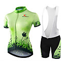cheap Bike Handlebar Bags-Malciklo Women's Short Sleeve Cycling Jersey with Bib Shorts - Green / Black Floral Botanical Bike Shorts Jersey Bib Tights Breathable Quick Dry Anatomic Design Ultraviolet Resistant Reflective Strips