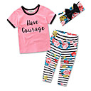 cheap Wall Stickers-Girls' Party Daily Going out Striped Floral Clothing Set, Cotton Polyester Summer Short Sleeves Floral Stripes Blushing Pink