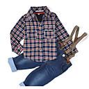 رخيصةأون أطقم ملابس الأولاد-صبيان مجموعة ملابس يوميا قطن ربيع خريف كم طويل تحقق أزرق البحرية