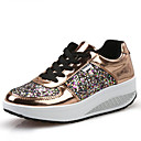 cheap Women's Boat Shoes-Women's Shoes Leatherette Spring / Fall Comfort / Light Soles Loafers & Slip-Ons Walking Shoes Wedge Heel Round Toe Sequin / Lace-up Gold