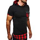 abordables Seguridad-Hombre Activo Deportes Retazos - Algodón Camiseta, Con Capucha Delgado A Cuadros / Manga Corta