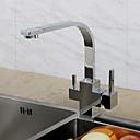 hesapli Mutfak Muslukları-Çağdaş Art Deco/Retro Modern İçecek Tall / Yüksek Ark standart Bacalı Tek Gövdeli Yağmur Duşları Yaygın Termostatik Seramik Vana Tek Kolu